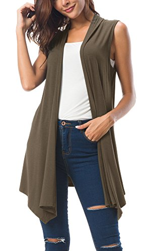 Jeans Summer Dress Brown - Women's Sleeveless Draped Open Front Cardigan Vest Asymmetric Hem (S, Chocolate)