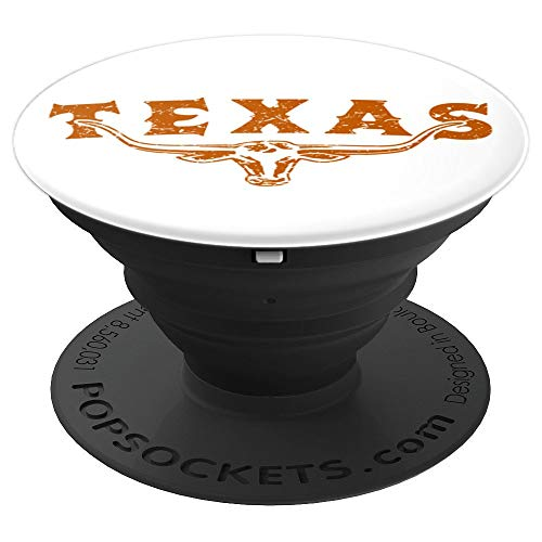 Texas Longhorn Bull - Vintage Distressed Texan Pride Gift - PopSockets Grip and Stand for Phones and Tablets ()