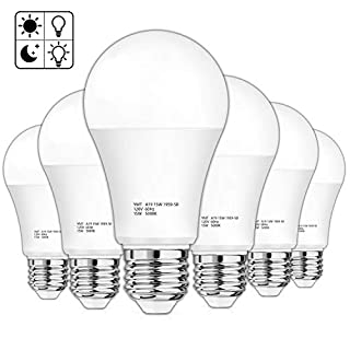 Dusk to Dawn Sensor Light Bulb, A19 15W(100-125W Equivalent) LED Auto On Off Light Bulbs, 1500 Lumens E26 Base, Daylight White 5000K Smart Sensor Lighting Indoor Outdoor for Porch Garage Yard, 6-Pack