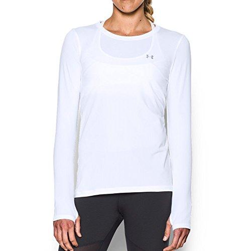 Silver Soccer Uniform - Under Armour Women's HeatGear Armour Long Sleeve, White/Metallic Silver, Small