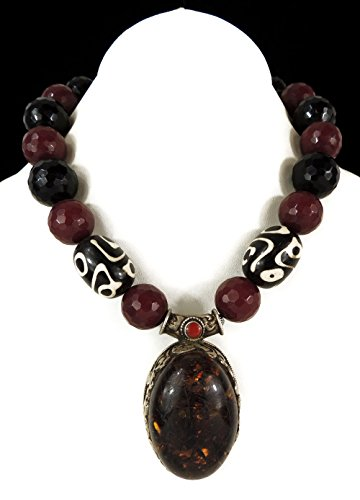 Tibetan Necklace Faux Amber Pendant Faceted Beads