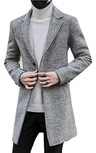 Light security Breasted Peacoat Collar Single Wool Classic Blend Notched Grey Men's OxqzwHOp