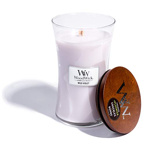 WoodWick Wild Violet, Highly Scented Candle, Classic Hourglass Jar with Lid, Large 7 Inches, 21.5 -