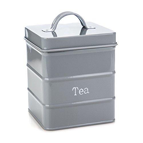 Canister Vintage Tea (Harbour Housewares Kitchen Tea Canister in Vintage Metal - Grey)