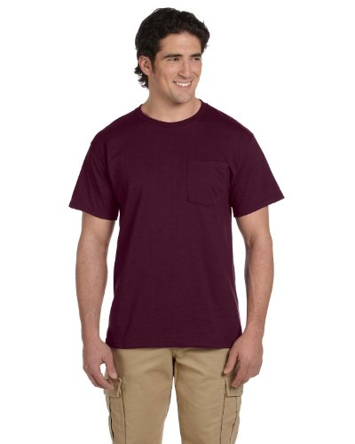 Jerzees Men's Heavyweight Chest Pocket T-Shirt, X-Large, Maroon