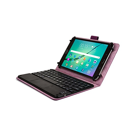 Samsung Galaxy Tab Pro 8.4 keyboard case, COOPER TOUCHPAD EXECUTIVE 2-in-1 Wireless Bluetooth Keyboard Mouse Leather Travel Cases Cover Holder Folio Portfolio + Stand SM-T320 T321 T325 (Purple) (Forros Tablet Samsung Tab 4)