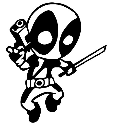[Teen Deadpool Vinyl Decal Sticker|Cars Trucks Vans Walls Laptops|BLACK|5.5 In|KCD586] (Deadpool Costume Variants)