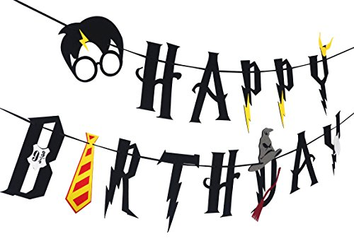 JAGGER M [Upgraded] Harry Potter Party Supplies – Happy Birthday Banner Felt Garland Party Decoration, Black