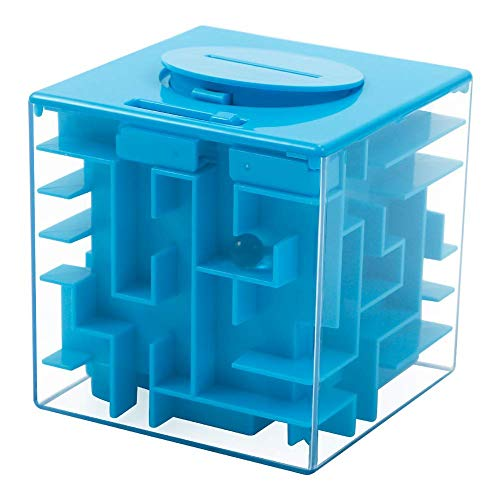 Geefia Money Maze Puzzle Box for Kids and Adults, Money Holder Puzzle - A Fun Unique Way to Give Gifts, Inexpensive Game Challenge for Children (Blue)