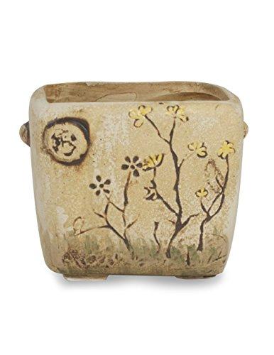 Dahlia Vintage Hand Carved Ceramic Succulent Planter/ Plant Pot/ Flower Pot/ Bonsai Pot, Flower (Carved Ceramic)
