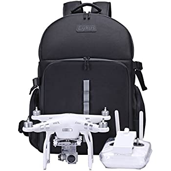 Lykus Water Resistant Travel Backpack for DJI Phantom 4, Phantom 3, Phantom 2 Models, Carry-on Size, Space for iPad and Accessories, Universal