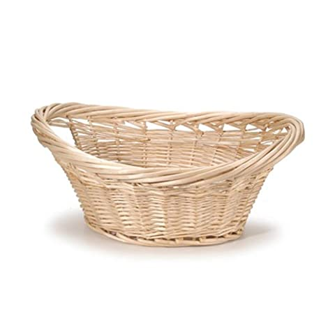 HomeSource Willow Laundry Basket-Oval-Natural-22 x 9.5 x 14.5 Inches - Willow Natural Wood