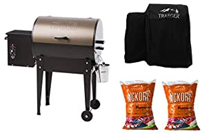 Traeger Junior Elite Wood Pellet Grill with Hydrotuff Cover and Two 20 lb. Bags of Hickory Pellets