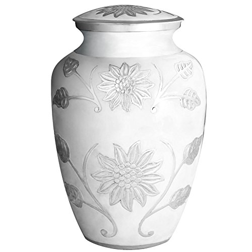 by Cremation Urns for Human Ashes Adult and Memorial - Hand Made in Brass and Hand Engraved - Display Burial Urns At Home or in Niche at Columbarium (Rosedale White, Large Urn) (Metal Fireplace Mantels)