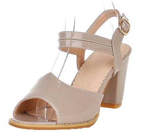 VogueZone009 Women Patent Leather Peep-Toe Kitten-Heels Buckle Solid Sandals apricot