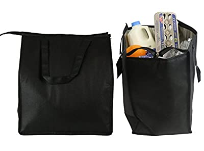 Cherlex 4 Piece Bundle Large Reusable Grocery Tote Bags, 2 Thermal Insulated Shopping Totes, Collapsible Eco Grocery Bag with Zipper, Included with 2 Reusable Grocery Bags