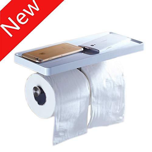 Beelee BA8801 Toilet Paper Holder with Shelf - White Double Paper Holder, Bathroom Cell Mobile Phone Holder Shelf, Wall Mounted design best for Bathroom