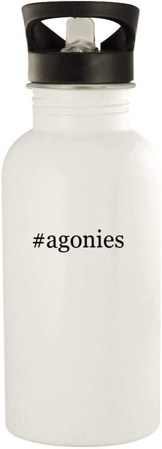 #agonies - 20oz Stainless Steel Water Bottle, White 413s2p-2BNBL