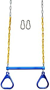 "Jungle Gym Kingdom 18"" Trapeze Swing Bar Rings 48"" Heavy Duty Chain Swing Set Accessories & Locking Carabiners (Blue)"