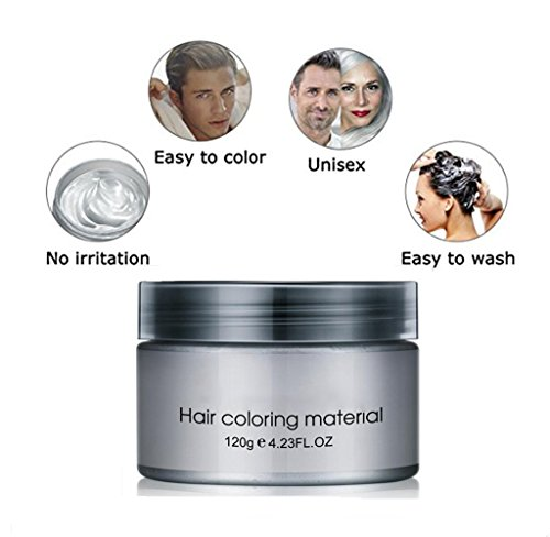 Zorvo Luxury Temporary Silver Gray Hair Wax Pomade Disposable Hair Mud Cream for Men, Women by Vowster, Wash Off ,Hairstyle Pomades for Party, Cosplay, Nightclub, Masquerade, Halloween 4.23.oz -