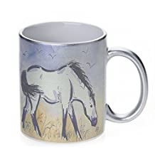 Marsh Tacky Pony in Purple Mustang Wild Horse Art by Denise Every - Silver Sparkle Coffee Mug with Round Rubber Drink Coaster