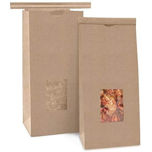[75 Pack] Bakery Bags with Window - 1/2 lb (8 oz) Brown Kraft Paper Bag Tin Tie Lock Closure, Small Resealable Coffee Bag, Cookie Packaging for Food Samples, to Go Snacks, Dessert Treat, Party Favors