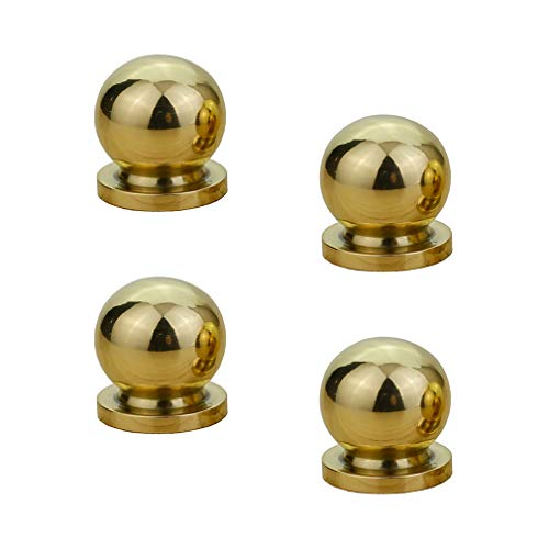(Tiazza 4pcs Round Solid Brass Knobs Antique Cabinet Drawer Small Handle Modern Minimalist Pulls (Mirror Polish))