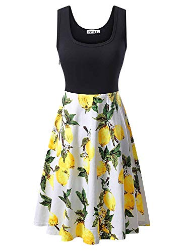 (VETIOR Party Dresses, Women's Round Neck Patchwork Lemon Yellow Picnic Midi Dress (XXL, 6500-8))