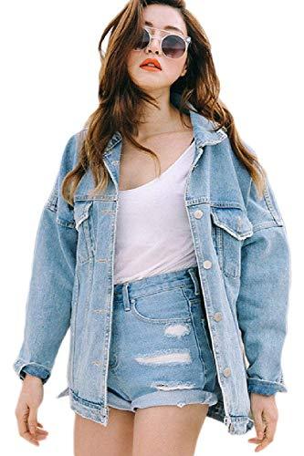 Cappotto Fashion Giacca Elegante Relaxed Primaverile Maniche Lunghe Yasminey Autunno Libero Tendenza Donna Women Giovane Blau Swag Jeans Coat Tempo Base Outerwear Streetwear tfwP5xPqU