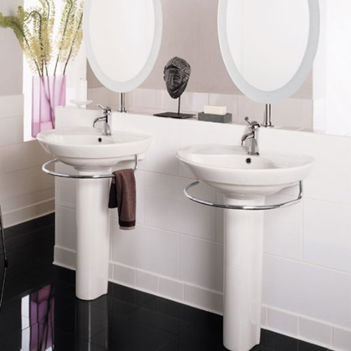 Good American Standard 0268.004.020 Ravenna Pedestal Sink Basin With 4 Inch  Faucet Spacing And Without Towel Bar, White     Amazon.com