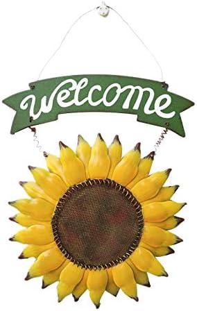 Dasorende ArtesaníAs Vintage Metal Girasol Cartel de Welcome Decoración de la Puerta Principal Colgante Corona Exterior Puerta Decorativa Porche Bar CafeteríA Tienda
