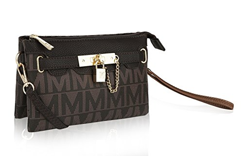 MKF Crossbody Purse Removable Adjustable Strap Vegan Leather Wristlet Messenger Bag