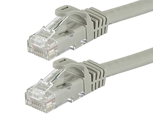 Monoprice Flexboot Cat6 Ethernet Patch Cable - Network Internet Cord - RJ45, Stranded, 550Mhz, UTP, Pure Bare Copper Wire, 24AWG, 25ft, Gray