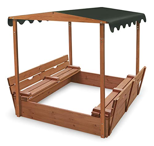 Furniture Turtle Bay - Badger Basket Covered Convertible Cedar Sandbox with Canopy and Bench Seats