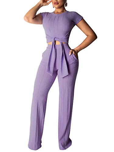 Lynwitkui Womens Two Piece Outfits Sexy Club Bodycon Crop Top High Waisted Wide Leg Jumpsuits with Belted Purple