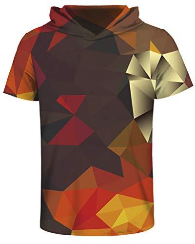 (sanatty Unisex 3D Printed Pullover Sweatshirt Hoodie Short Sleeve Casual T Shirt Galaxy Space Creative Graphic Hooded Shirts (XX-L/XXX-L, polyhedro))