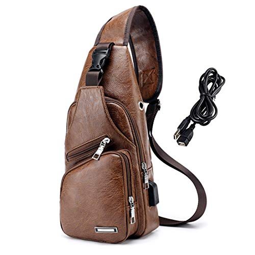 Suyzufly Men PU Leather Sling Backpack Small Chest Shoulder Crossbody Bag with USB Charging Port for Travel Hiking Cycling Light Brown (Male Hiking Bag)