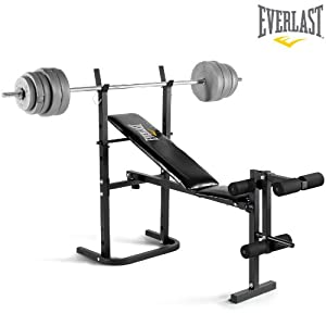 Everlast Foldable Weight Bench Amp 40kg Barbell Weight Set