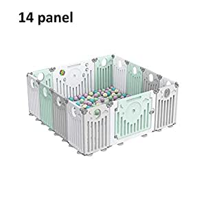 Portable Baby Playpen 16 Panel Kids Activity Center Foldable Children's Play Fence Play Yard With Doors And Activity Panels (Size : 14 panel)