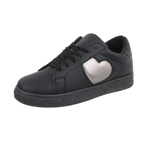 Ital-Design Sportschuhe Damenschuhe Geschlossen Sneakers Schnürsenkel Freizeitschuhe Schwarz LZ7015