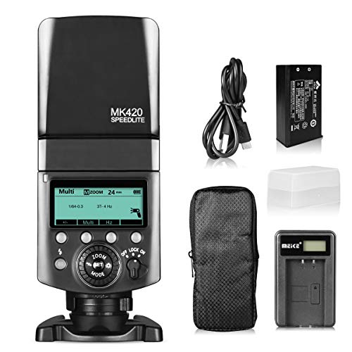Meike MK420S Professional TTL Li-ion Battery Flash Speedlite with LCD Display for Sony Mi Hot Shoe Mount Camera+ Lithium Battery +Diffuser+Battery Charger