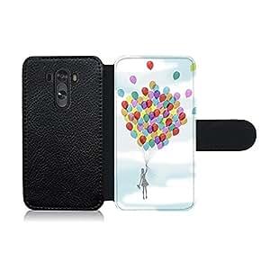 Funda carcasa de cuero para LG G3 diseño niña con globos de colores