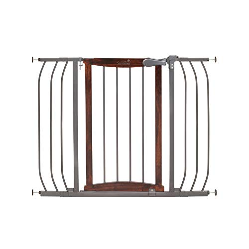Summer Anywhere Decorative Walk-Thru Baby Gate, Walnut Wood and a Metal Charcoal Accent Finish 30 Tall, Fits Openings up to 28 to 42.5 Wide, Baby and Pet Gate for Doorways and Stairways