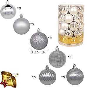 Christmas Balls Ornaments for Xmas Christmas Tree,Shatterproof Christmas Tree Decorations Hanging Ball Set for Holiday Wedding Party Decoration 2.4Inch x 34 Pack (Color: Silver)