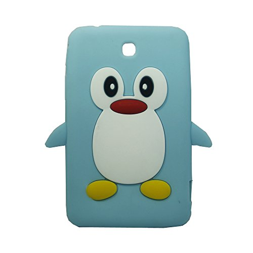 Tsmine Samsung Galaxy Tab 3 7.0-inch SM-T217 T217A T217S T217R T210R T2105 Kids Edition (2013 Model) Cartoon Case, Cute 3D Penguin Animal Soft Silicone Rubber Back Cover Case for Kids- Baby Blue