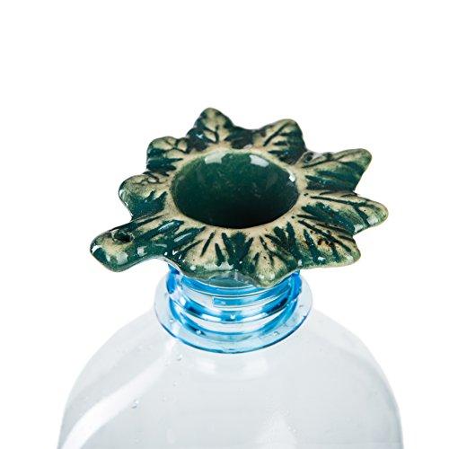 Green Leaf handmade pottery gravity bong accessory. Non-Toxic glaze