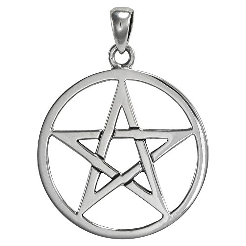 Large Interwoven Sterling Silver Pentagram Pentacle Pendant