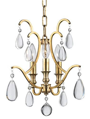 (Crawford 3-Light Semi Flush/Pendant - Aged Brass)