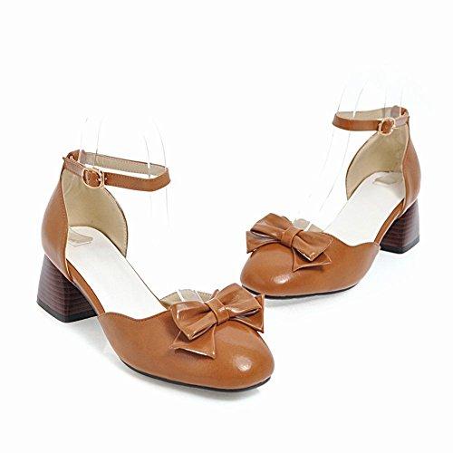 Mee Shoes Damen Chunky Heels mit Schleifen Ankle Strap Pumps Gelbbraun