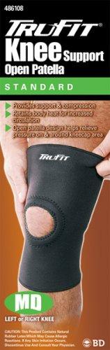 Tru-Fit Knee Support Open Patella , Black, Medium (Pack of 2)